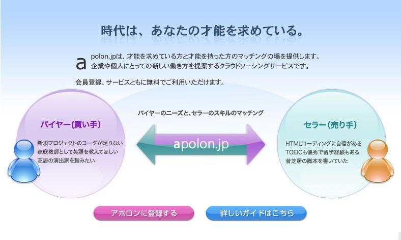 apolon.jp  仕事と才能を結びつける、クラウドソーシングサービス アポロン