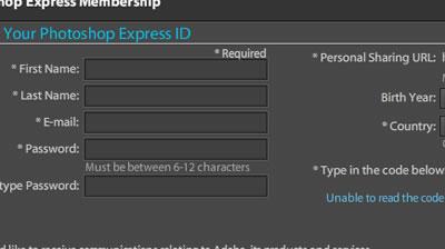 Photoshop Expressの登録画面